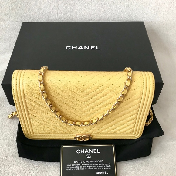 3533ef8724a1 CHANEL Handbags - Auth Chanel Boy Yellow Caviar Wallet on Chain Rare